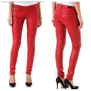AG Jeans The Legging Super Skinny Red Coated Jeans